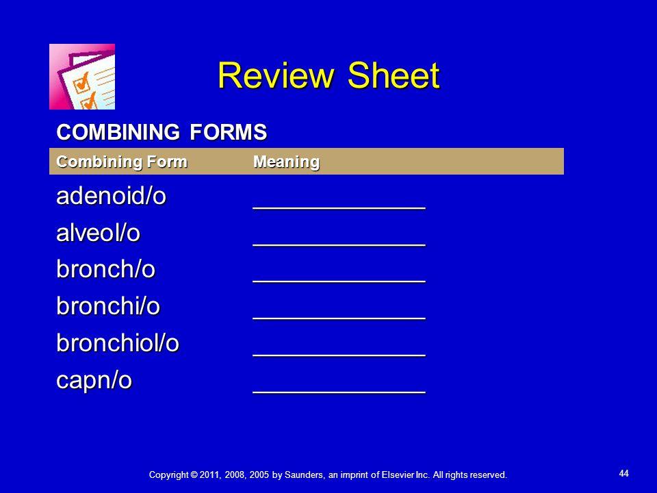 Review Sheet adenoid/o ____________ alveol/o ____________