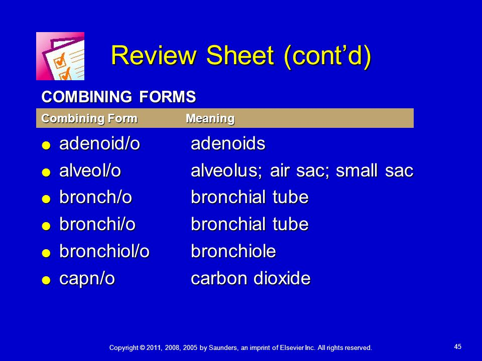 Review Sheet (cont'd) adenoid/o adenoids
