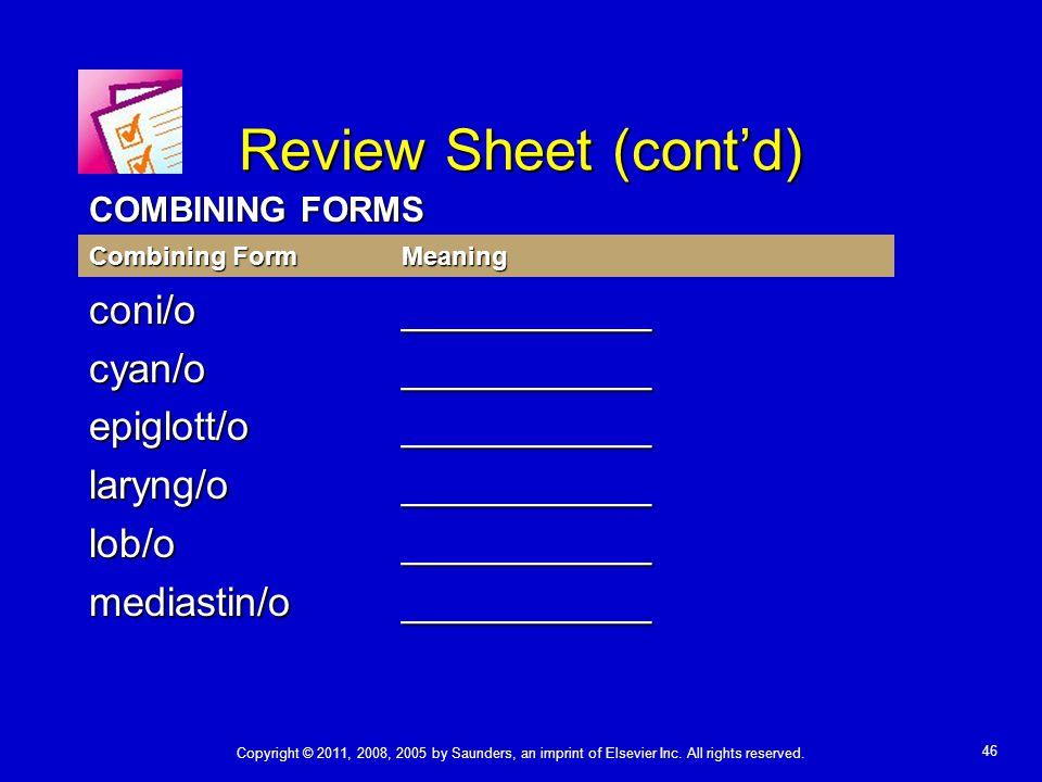 Review Sheet (cont'd) coni/o ___________ cyan/o ___________