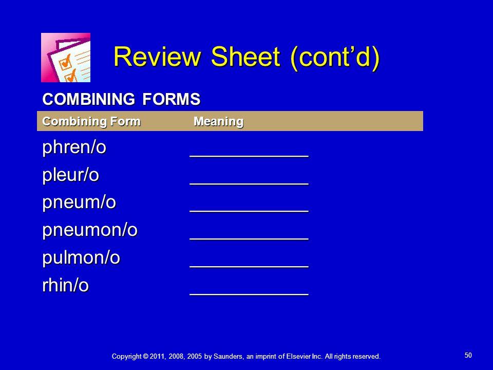 Review Sheet (cont'd) phren/o ___________ pleur/o ___________