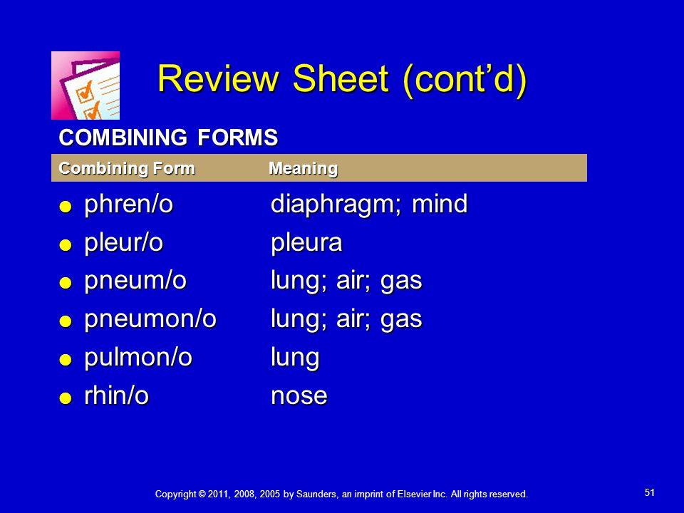 Review Sheet (cont'd) phren/o diaphragm; mind pleur/o pleura