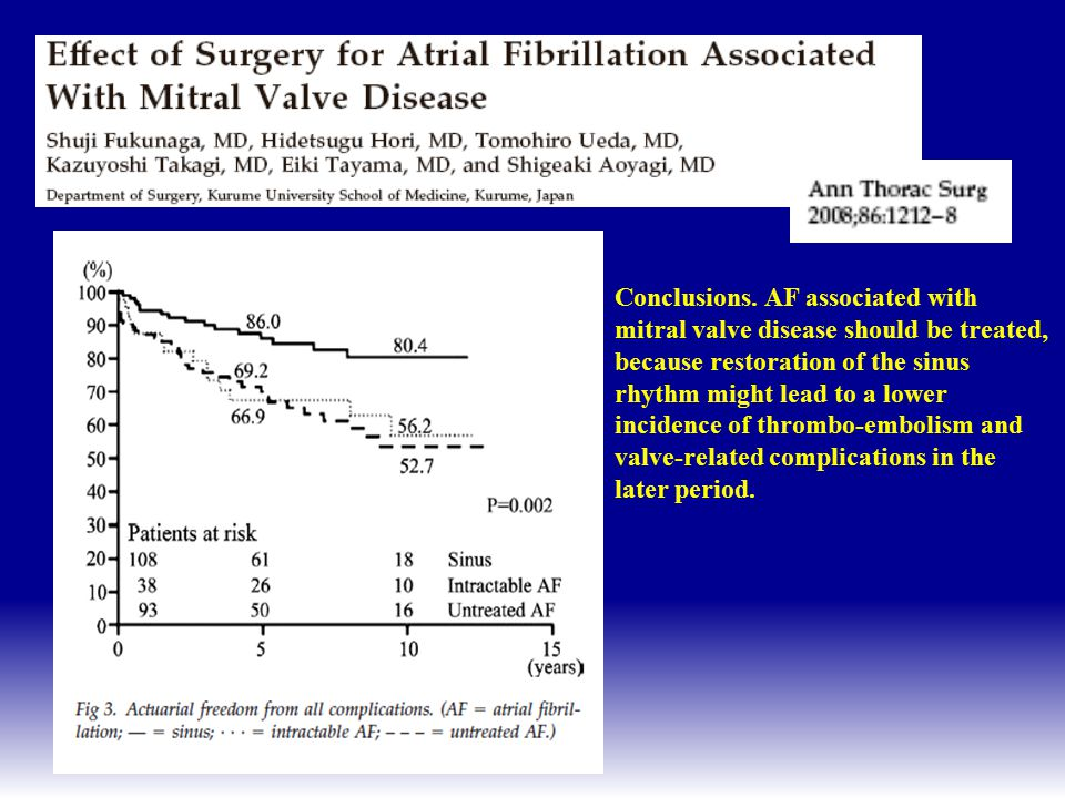 Conclusions. AF associated with mitral valve disease should be treated, because restoration of the sinus rhythm might lead to a lower incidence of thrombo-embolism and valve-related complications in the later period.