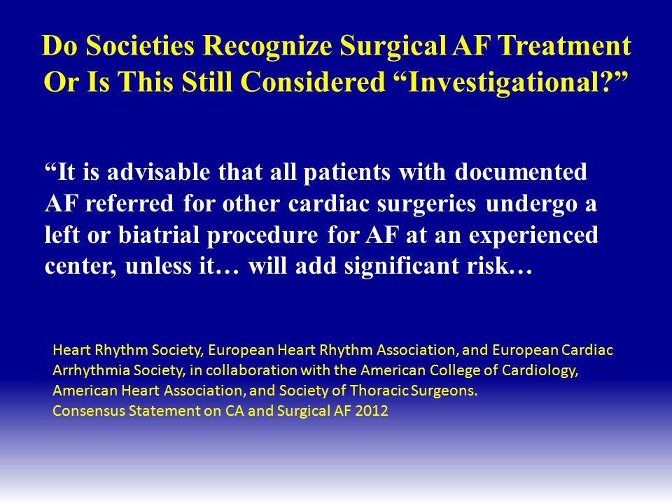 Do Societies Recognize Surgical AF Treatment Or Is This Still Considered Investigational