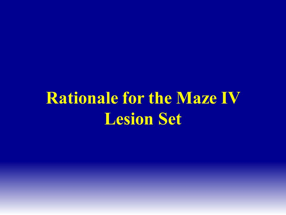 Rationale for the Maze IV Lesion Set