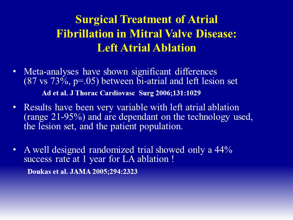 Surgical Treatment of Atrial Fibrillation in Mitral Valve Disease: Left Atrial Ablation