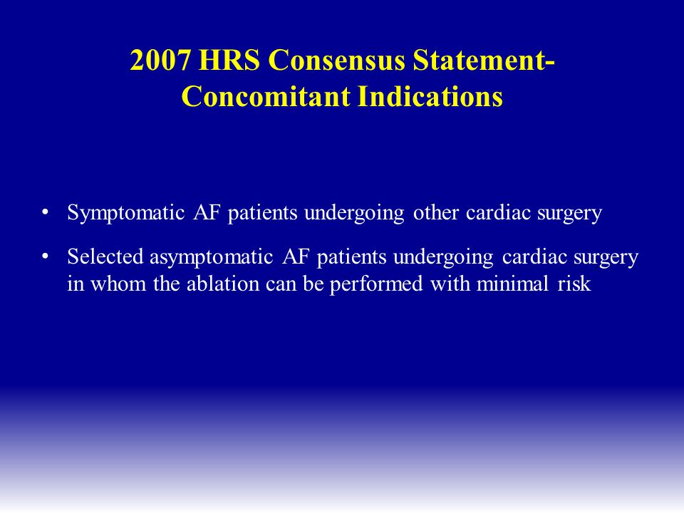2007 HRS Consensus Statement- Concomitant Indications