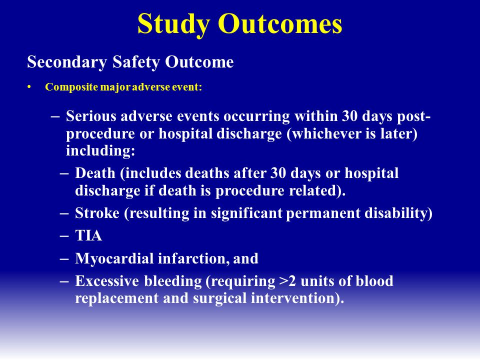 Study Outcomes Secondary Safety Outcome