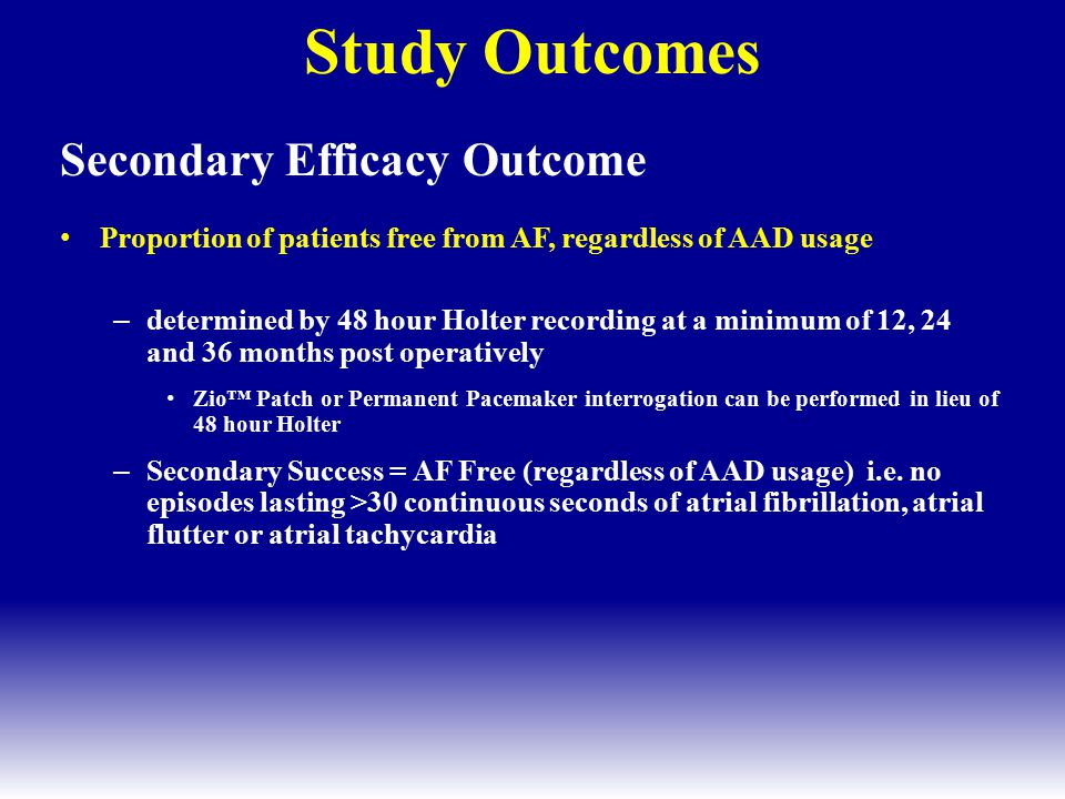 Study Outcomes Secondary Efficacy Outcome