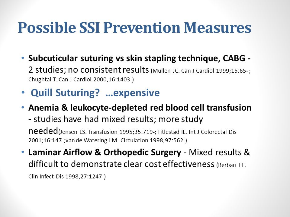 Possible SSI Prevention Measures