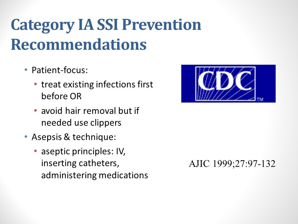Category IA SSI Prevention Recommendations