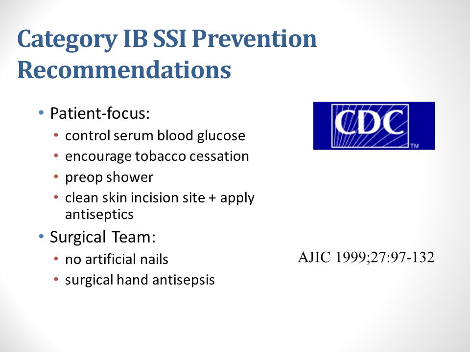 Category IB SSI Prevention Recommendations