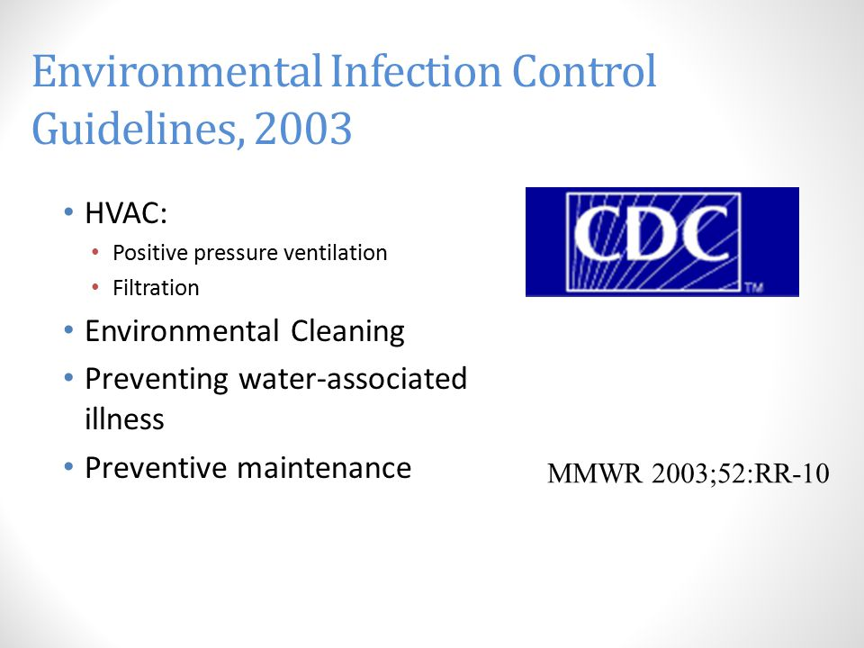 Environmental Infection Control Guidelines, 2003