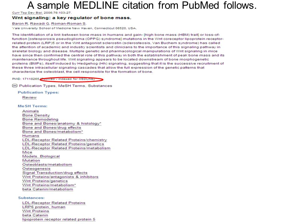 A sample MEDLINE citation from PubMed follows.