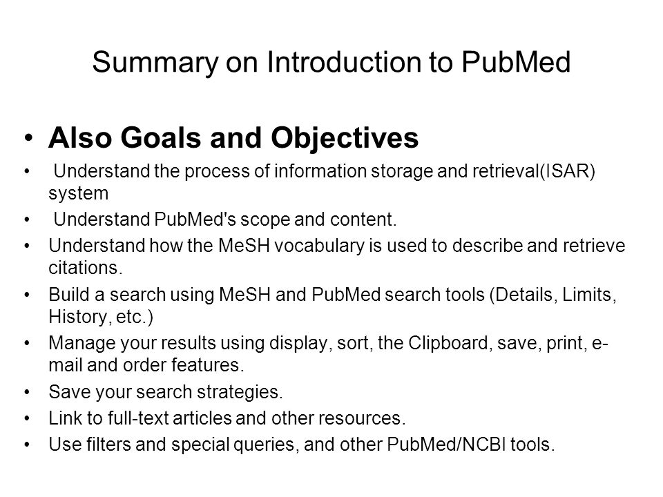 Summary on Introduction to PubMed