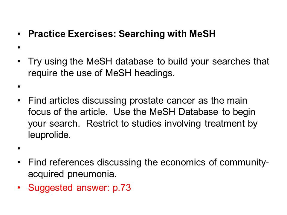 Practice Exercises: Searching with MeSH