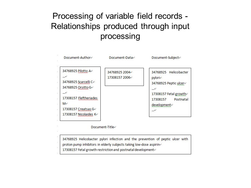 Processing of variable field records - Relationships produced through input processing