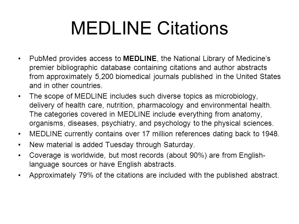MEDLINE Citations