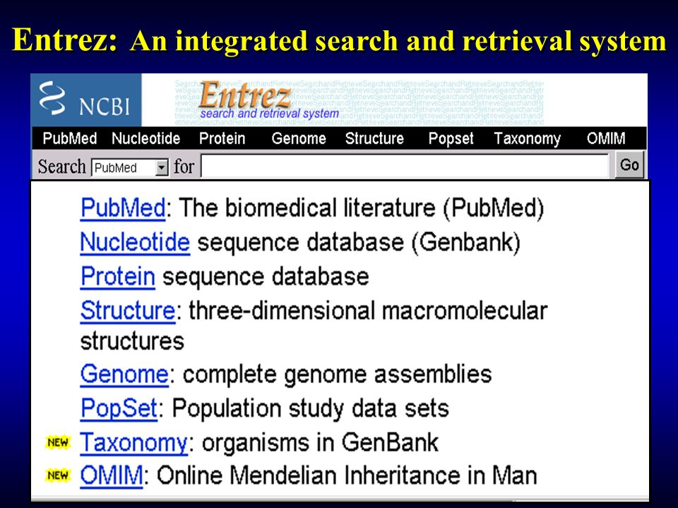 Entrez: An integrated search and retrieval system