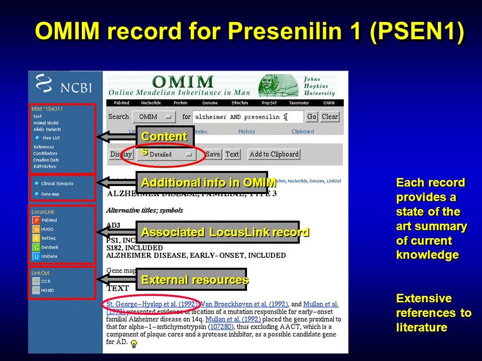 OMIM record for Presenilin 1 (PSEN1)