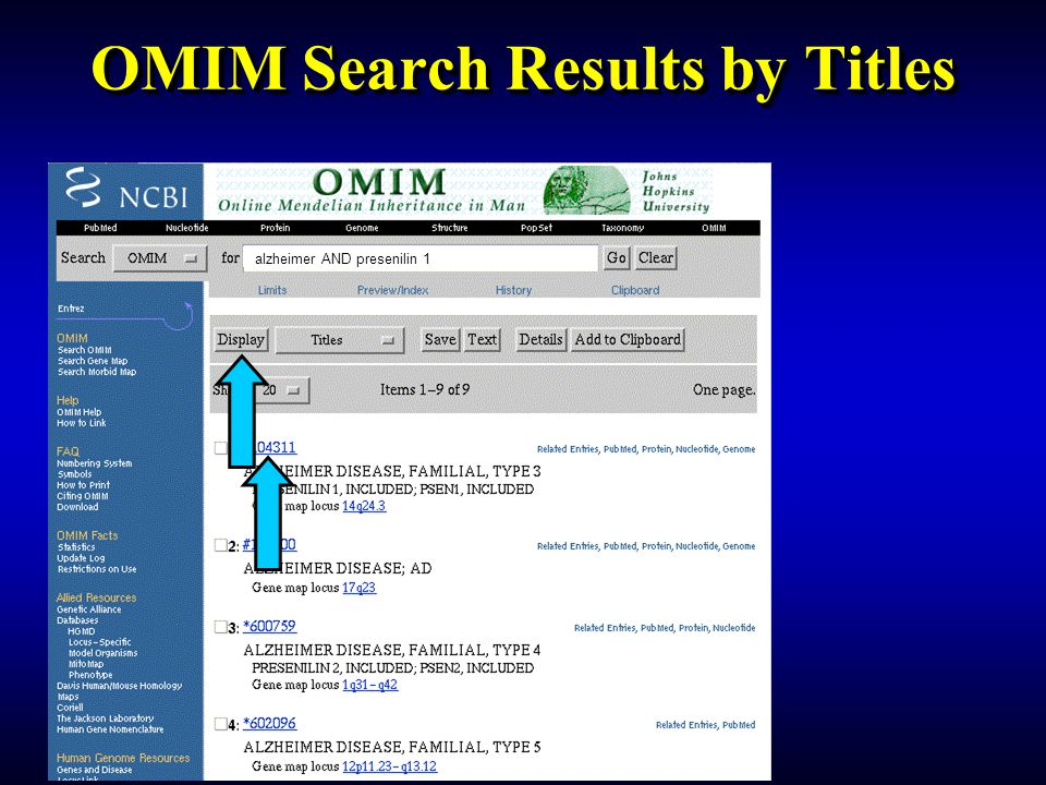 OMIM Search Results by Titles
