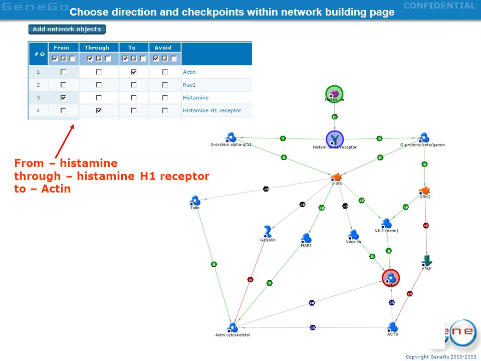 Choose direction and checkpoints within network building page