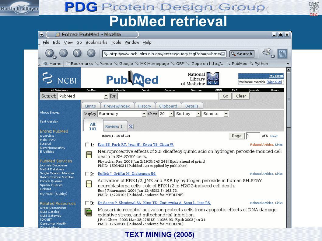 PubMed retrieval TEXT MINING (2005)