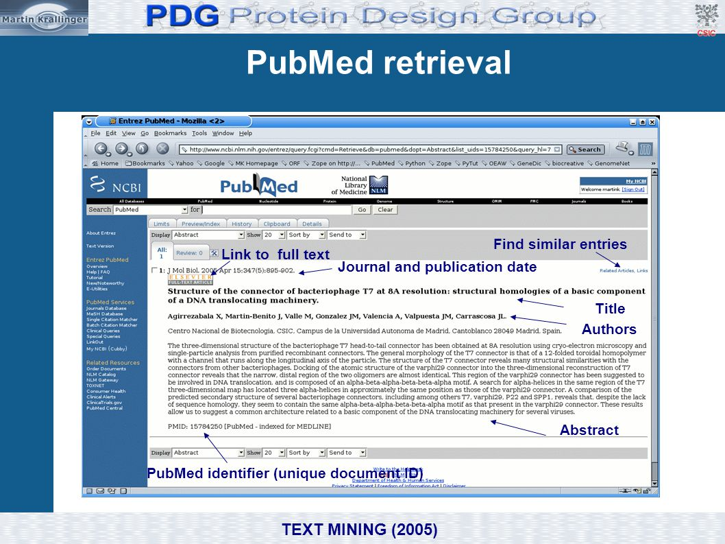 Journal and publication date PubMed identifier (unique document ID)