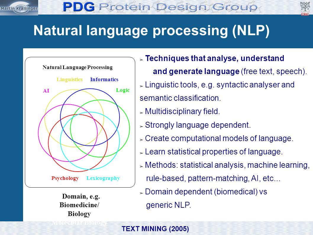 Natural Language Processing . Domain, e.g. Biomedicine/