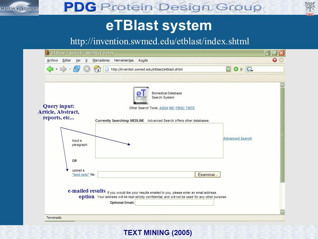 eTBlast system http://invention.swmed.edu/etblast/index.shtml