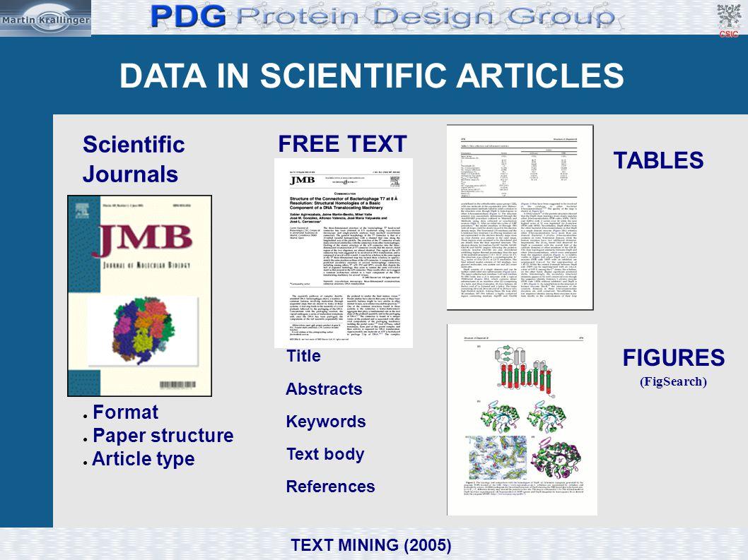 DATA IN SCIENTIFIC ARTICLES