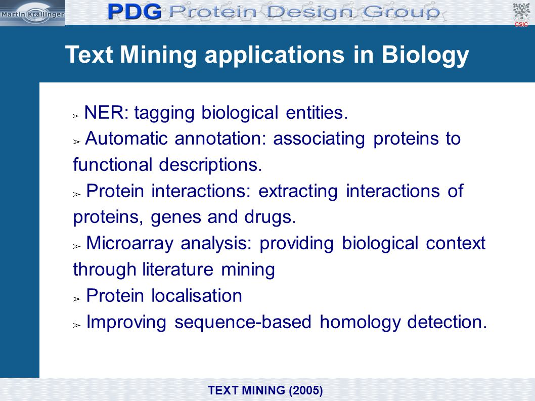Text Mining applications in Biology