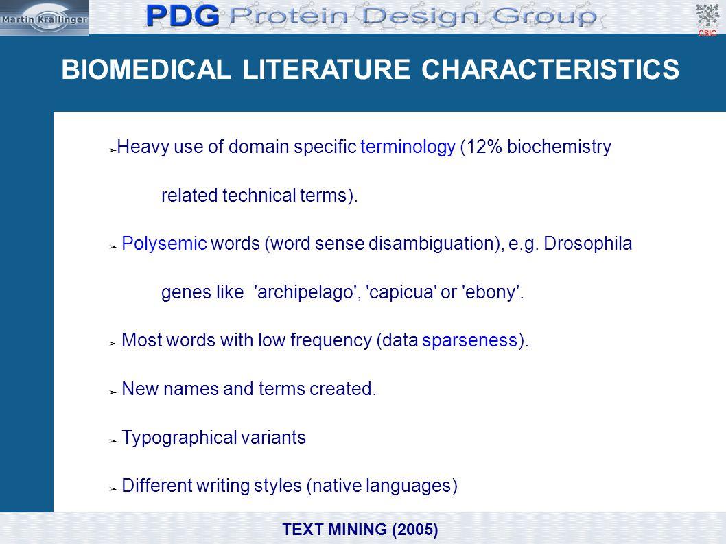 BIOMEDICAL LITERATURE CHARACTERISTICS
