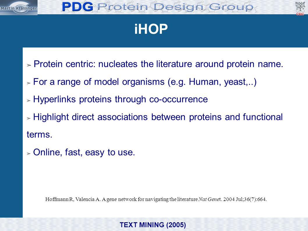 iHOP Protein centric: nucleates the literature around protein name.
