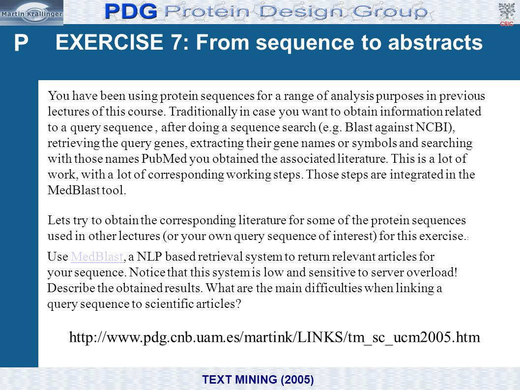 P EXERCISE 7: From sequence to abstracts