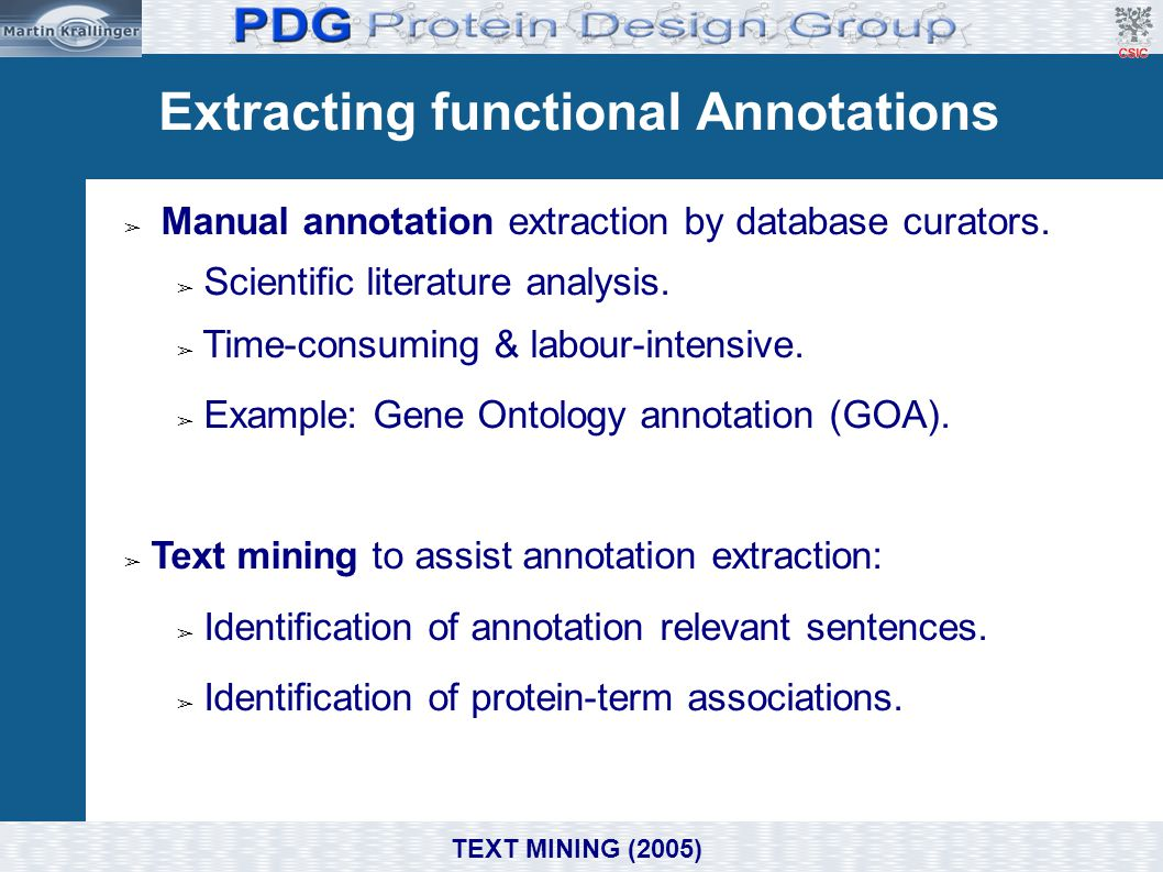 Extracting functional Annotations