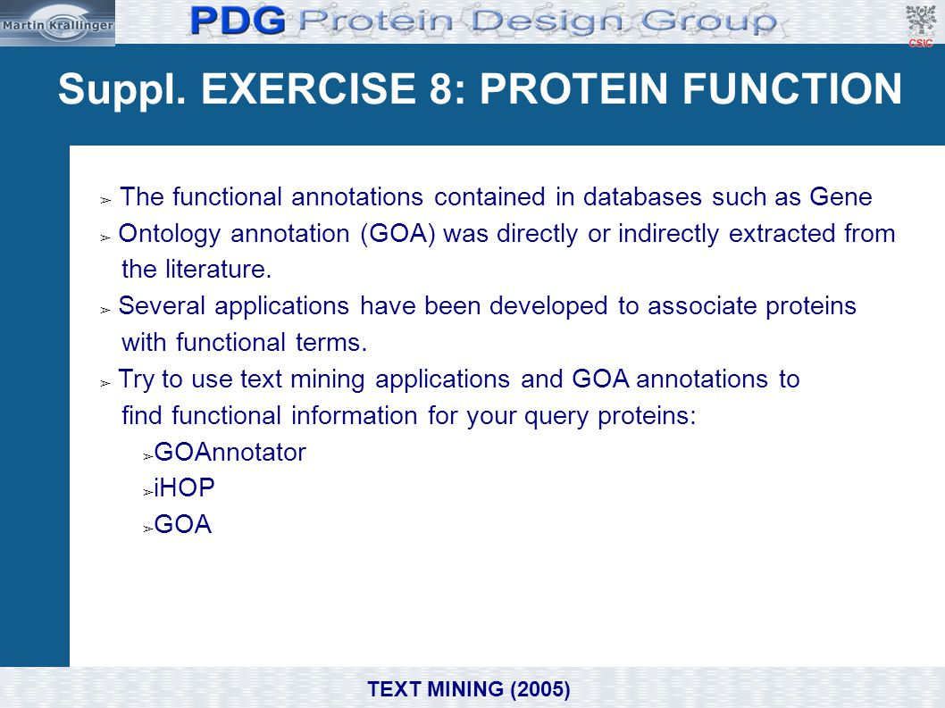 Suppl. EXERCISE 8: PROTEIN FUNCTION