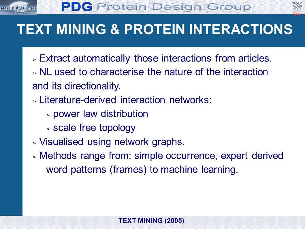 TEXT MINING & PROTEIN INTERACTIONS