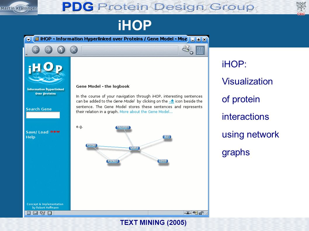 iHOP iHOP: Visualization of protein interactions using network graphs