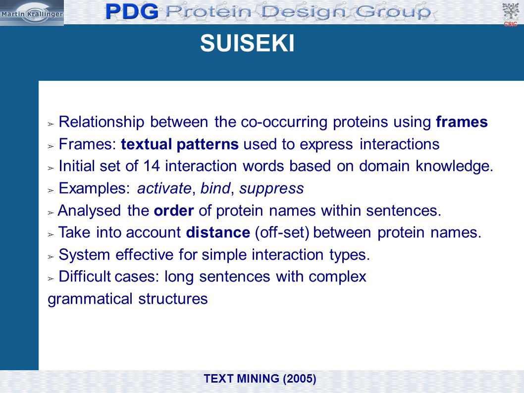 SUISEKI Relationship between the co-occurring proteins using frames