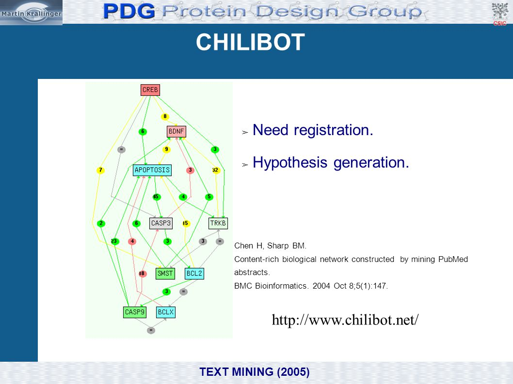 CHILIBOT Need registration. Hypothesis generation.