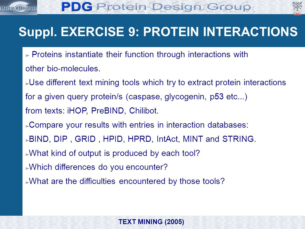 Suppl. EXERCISE 9: PROTEIN INTERACTIONS