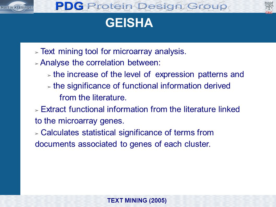 GEISHA Text mining tool for microarray analysis.