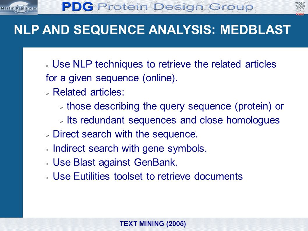 NLP AND SEQUENCE ANALYSIS: MEDBLAST