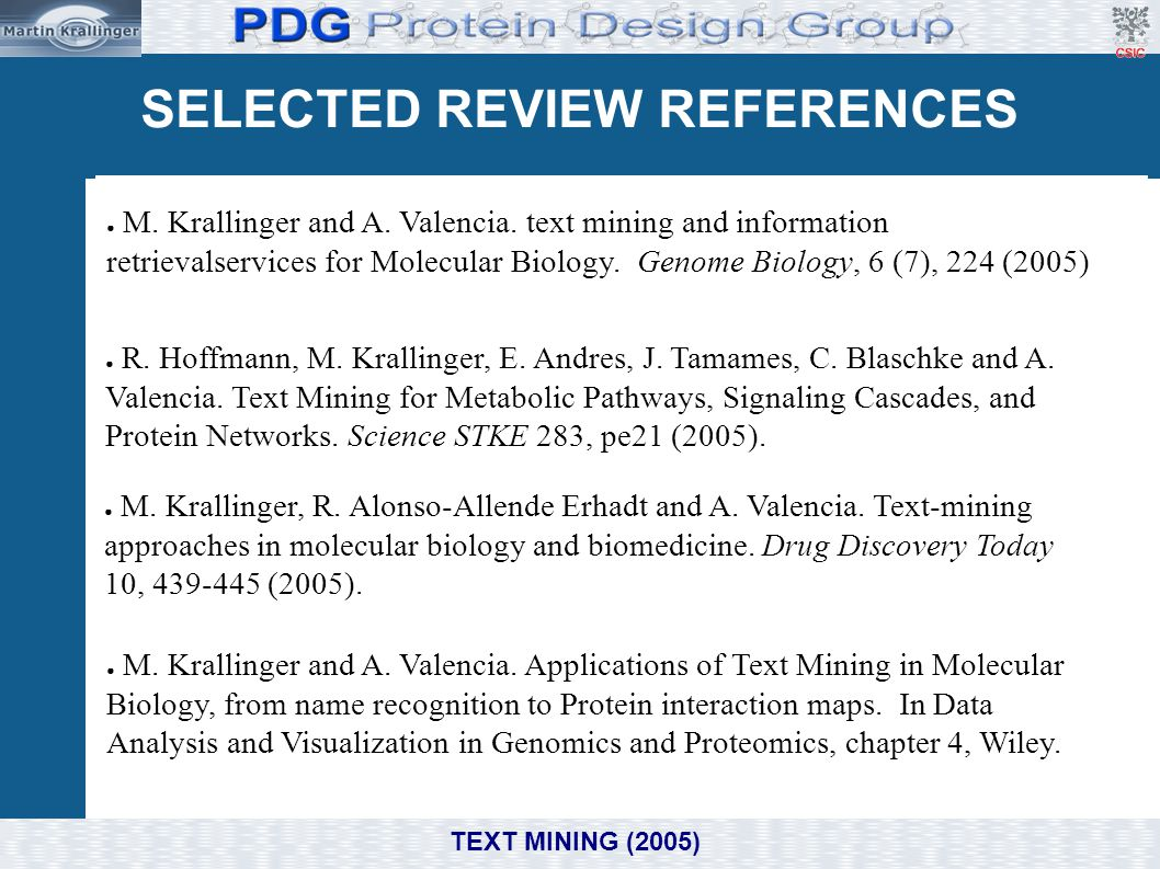 SELECTED REVIEW REFERENCES