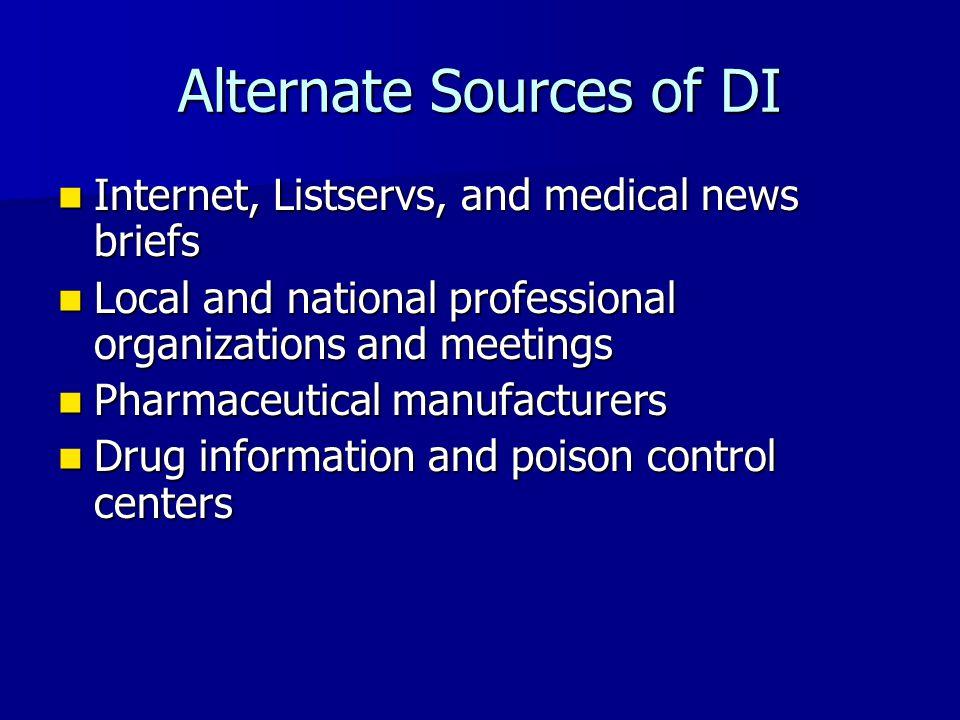 Alternate Sources of DI