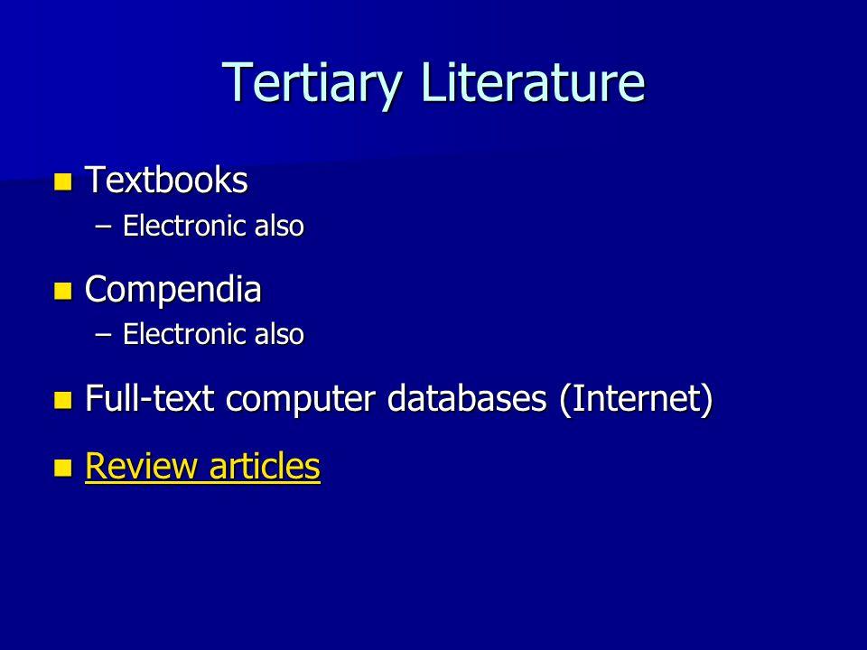Tertiary Literature Textbooks Compendia
