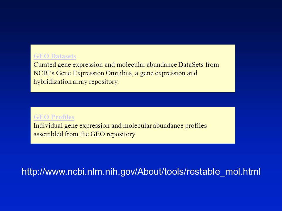GEO Datasets Curated gene expression and molecular abundance DataSets from NCBI s Gene Expression Omnibus, a gene expression and hybridization array repository.