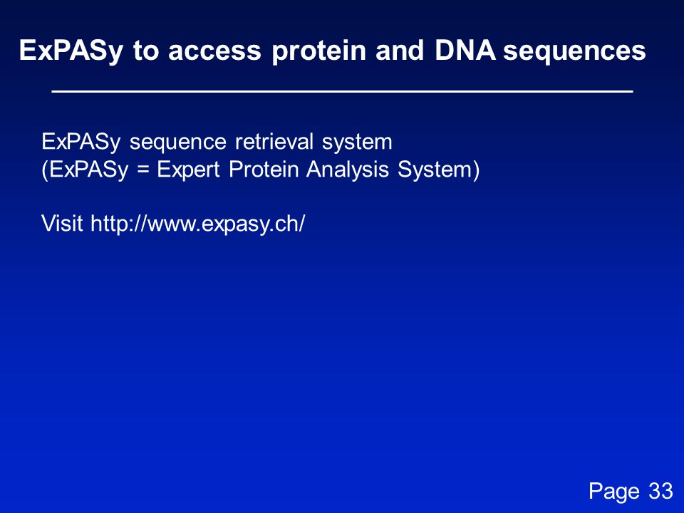 ExPASy to access protein and DNA sequences