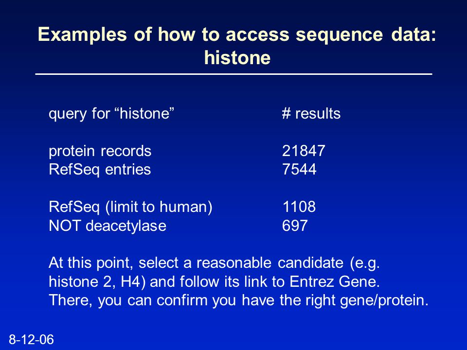 Examples of how to access sequence data: