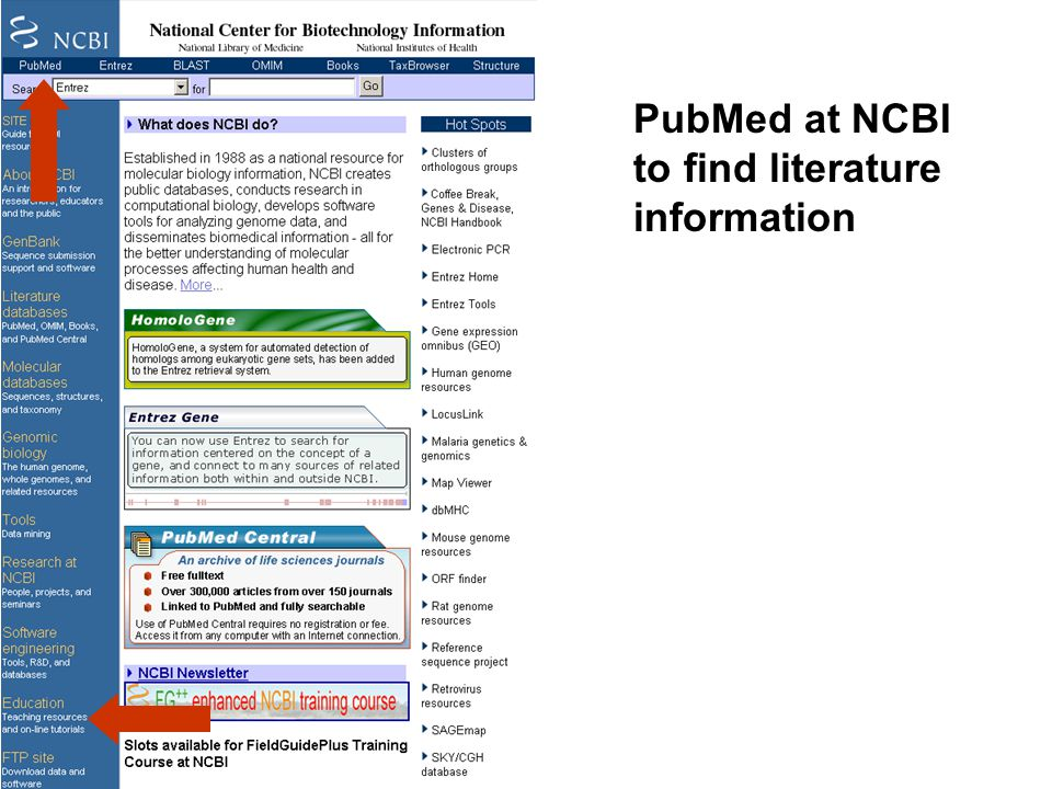 PubMed at NCBI to find literature information